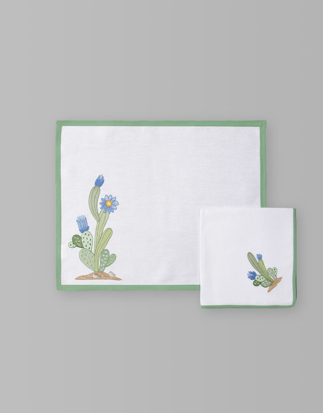 FLOWERED CACTUS PLACEMAT SET OF 2