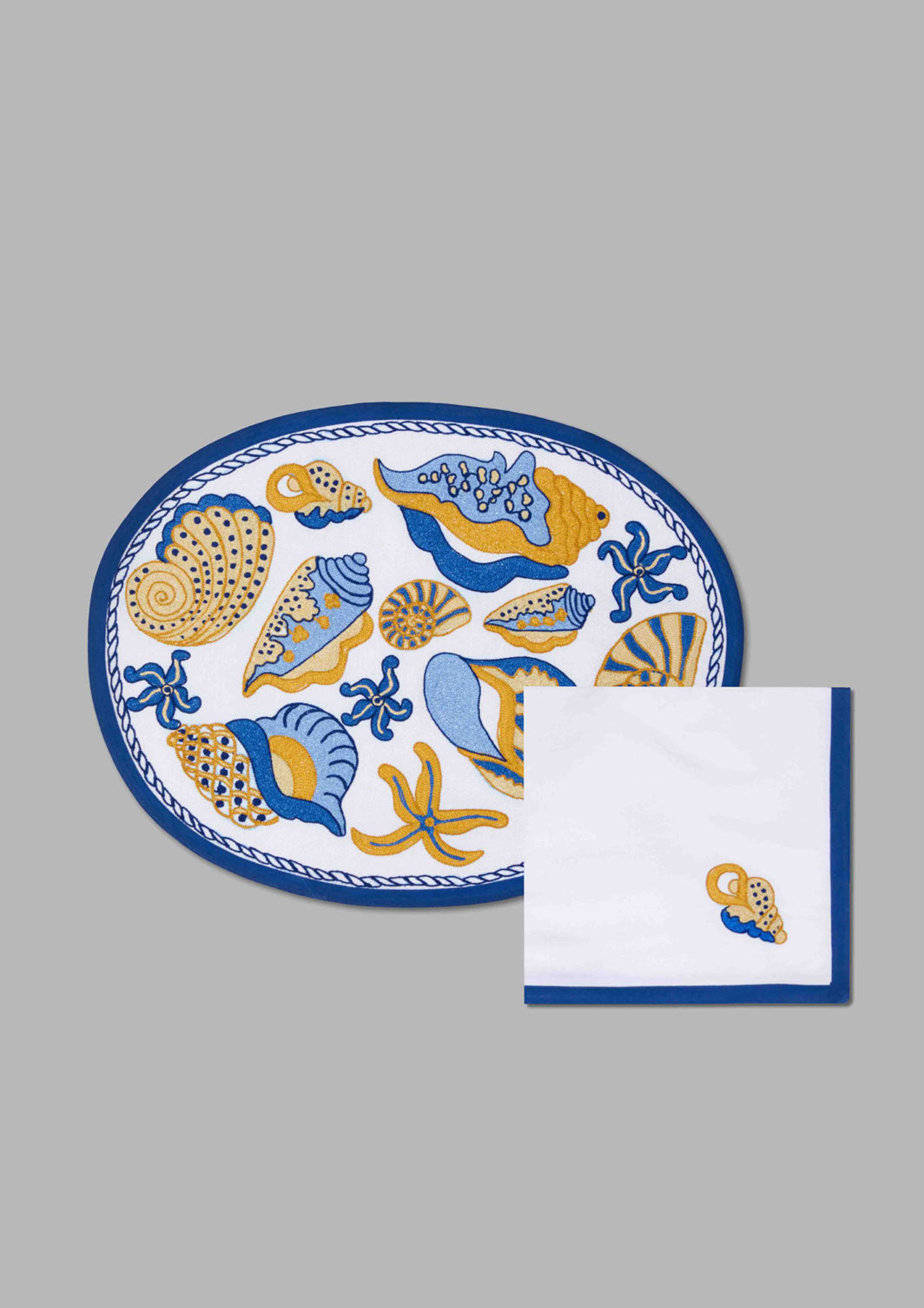 BLUE SHELLS PLACEMAT SET OF 2