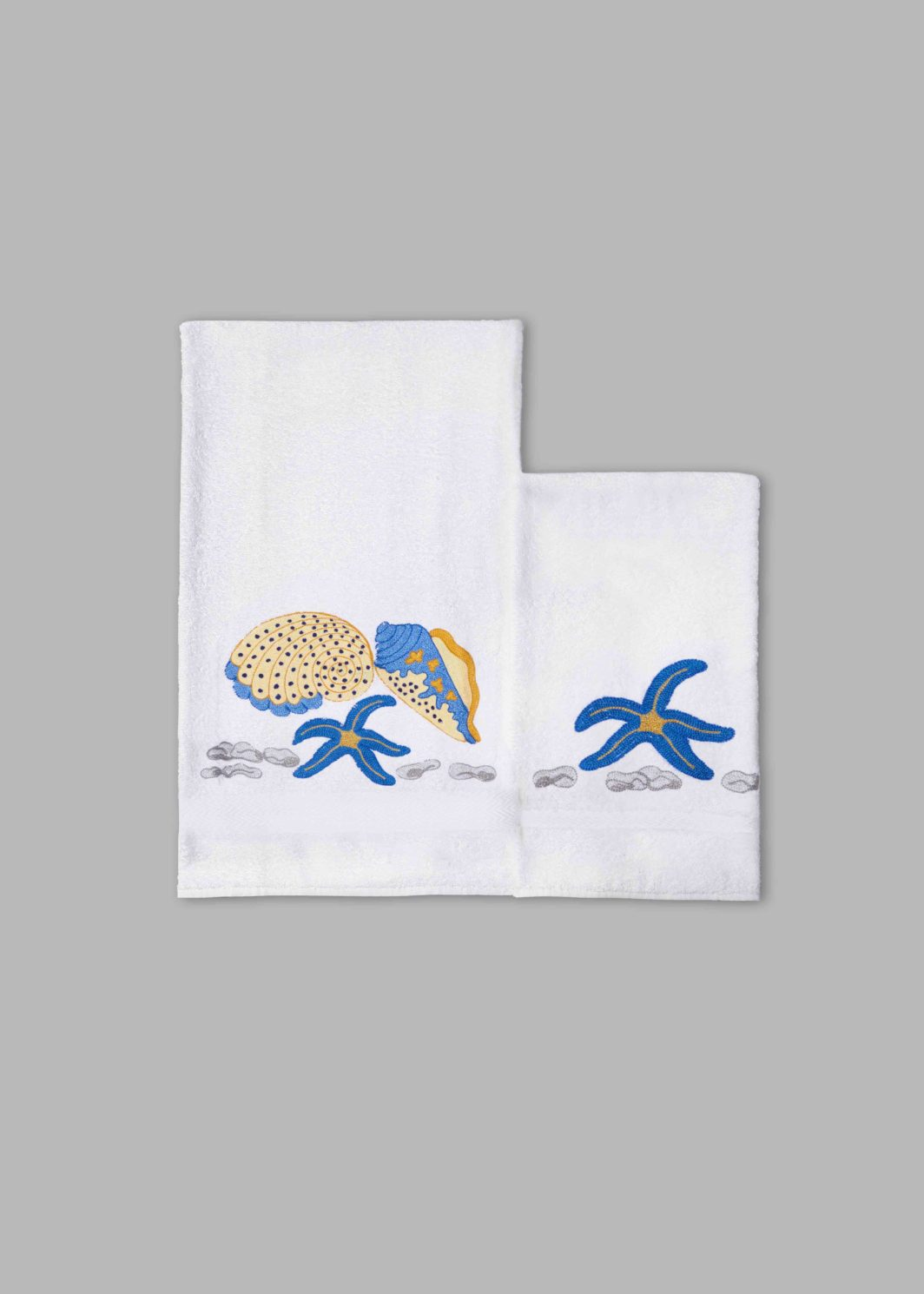 BLUE SHELLS BATH TOWELS SET - 2PCS