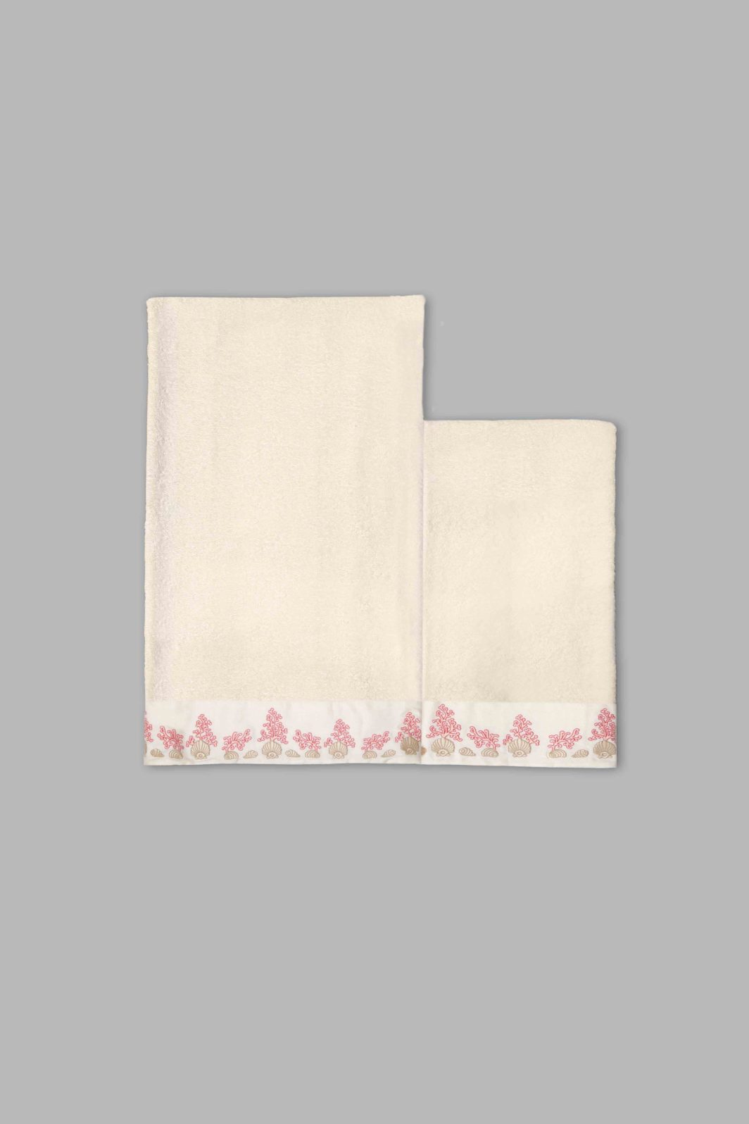 CORAL & SHELL BATH TOWELS SET - 2PCS